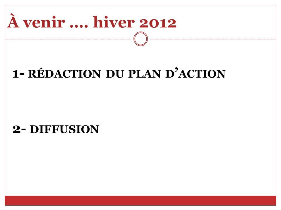 À venir …. hiver 2012 1- RÉDACTION DU PLAN D ACTION 2- DIFFUSION