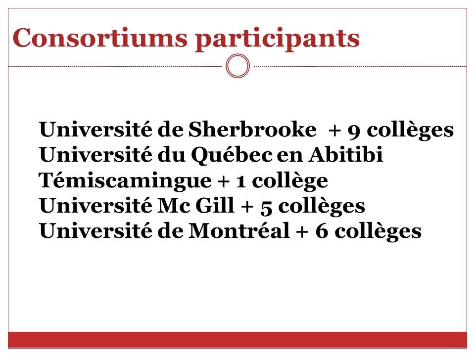 Consortiums participants Université de Sherbrooke + 9 collèges Université du Québec en Abitibi Témiscamingue + 1 collège Université Mc Gill + 5 collèges Université de Montréal + 6 collèges