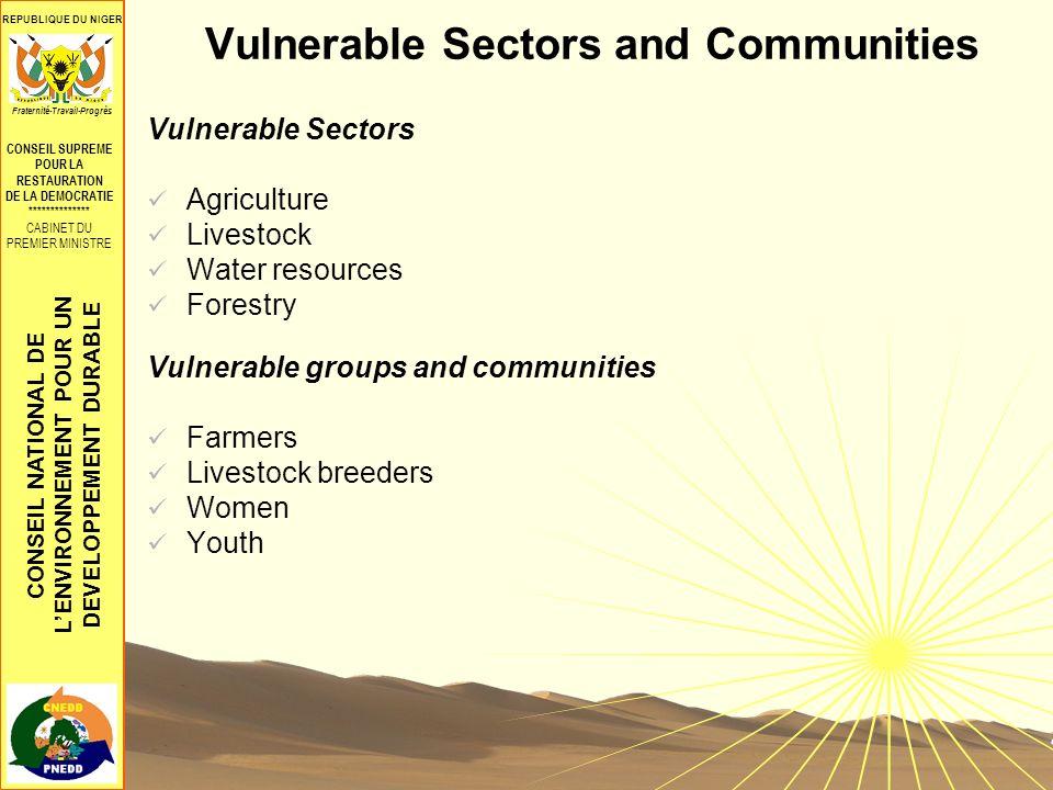 CONSEIL NATIONAL DE LENVIRONNEMENT POUR UN DEVELOPPEMENT DURABLE REPUBLIQUE DU NIGER CONSEIL SUPREME POUR LA RESTAURATION DE LA DEMOCRATIE ************** CABINET DU PREMIER MINISTRE Fraternité-Travail-Progrès Vulnerable Sectors and Communities Vulnerable Sectors Agriculture Livestock Water resources Forestry Vulnerable groups and communities Farmers Livestock breeders Women Youth