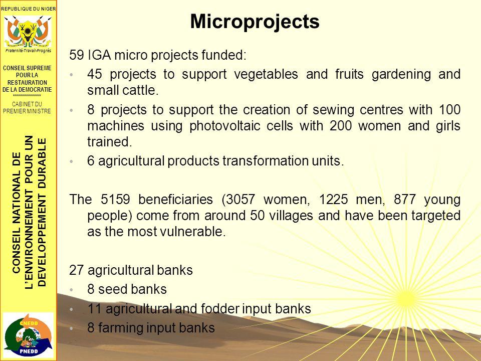 CONSEIL NATIONAL DE LENVIRONNEMENT POUR UN DEVELOPPEMENT DURABLE REPUBLIQUE DU NIGER CONSEIL SUPREME POUR LA RESTAURATION DE LA DEMOCRATIE ************** CABINET DU PREMIER MINISTRE Fraternité-Travail-Progrès Microprojects 59 IGA micro projects funded: 45 projects to support vegetables and fruits gardening and small cattle.
