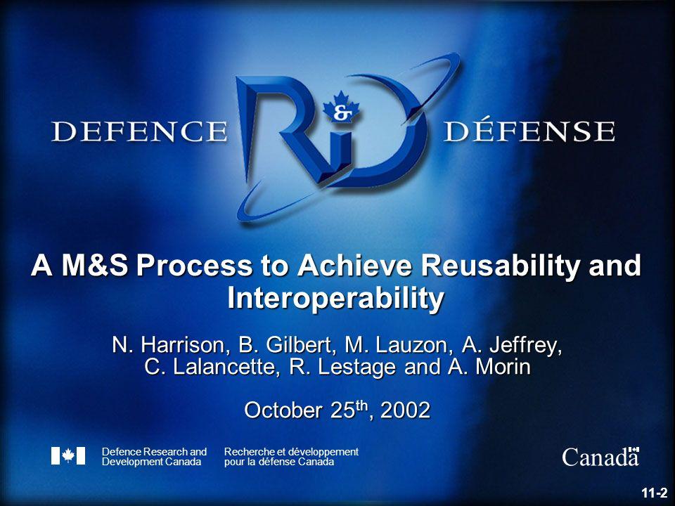 Defence R&D Canada – Valcartier R & D pour la défense Canada – Valcartier Outline 1.Problem 2.Solution 3.Proposed M&S process 4.Suite of tools 5.Incubating project 6.Advantages 7.Disadvantages 8.Lessons learned 9.Way ahead 11-3