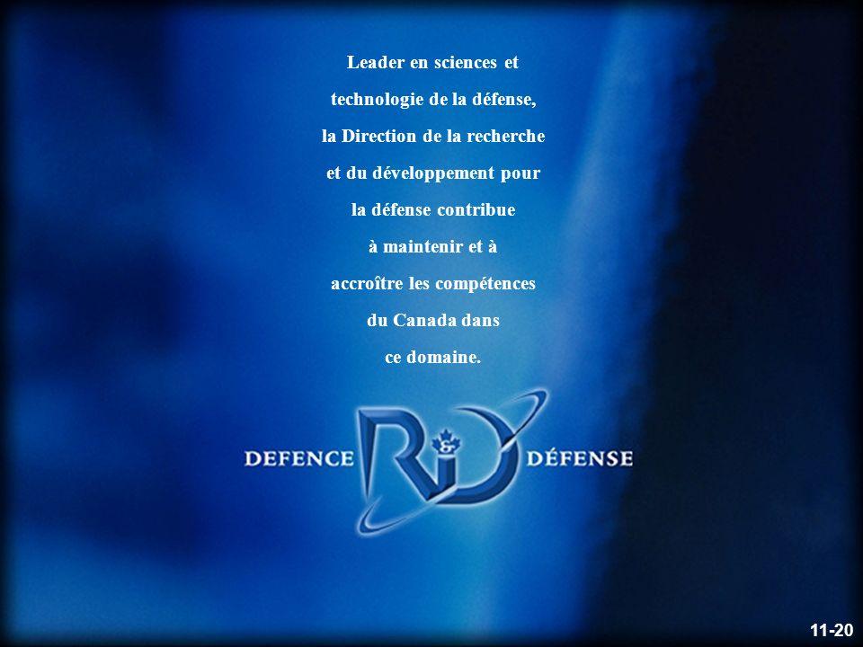 Defence R&D Canada – Valcartier R & D pour la défense Canada – Valcartier Leader en sciences et technologie de la défense, la Direction de la recherche et du développement pour la défense contribue à maintenir et à accroître les compétences du Canada dans ce domaine.