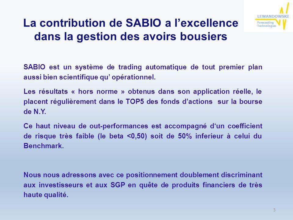 Résultats du trading obtenus sur le S&P500 Lapplication on-line de SABIO aux 500 valeurs du S&P a généré ces 4 dernières années 2.300 trades.