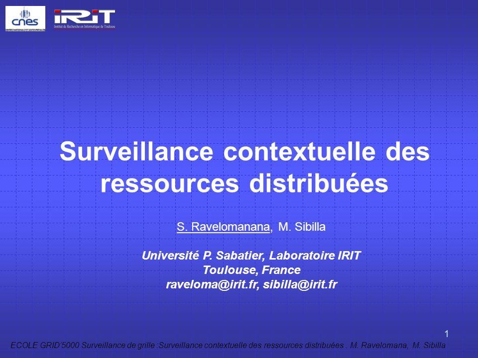 ECOLE GRID5000 Surveillance de grille :Surveillance contextuelle des ressources distribuées. M. Ravelomana, M. Sibilla 1 Surveillance contextuelle des
