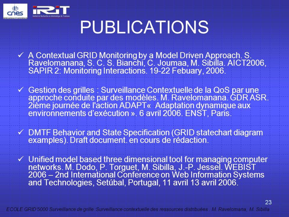 ECOLE GRID5000 Surveillance de grille :Surveillance contextuelle des ressources distribuées. M. Ravelomana, M. Sibilla 23 PUBLICATIONS A Contextual GR