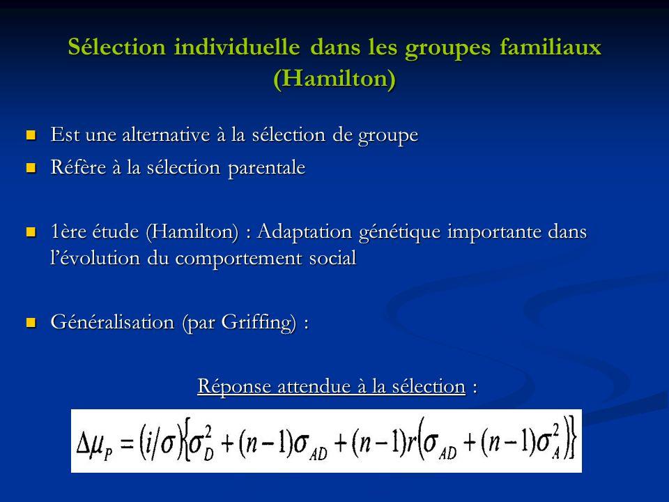 Sélection individuelle dans les groupes familiaux (Hamilton) Est une alternative à la sélection de groupe Est une alternative à la sélection de groupe