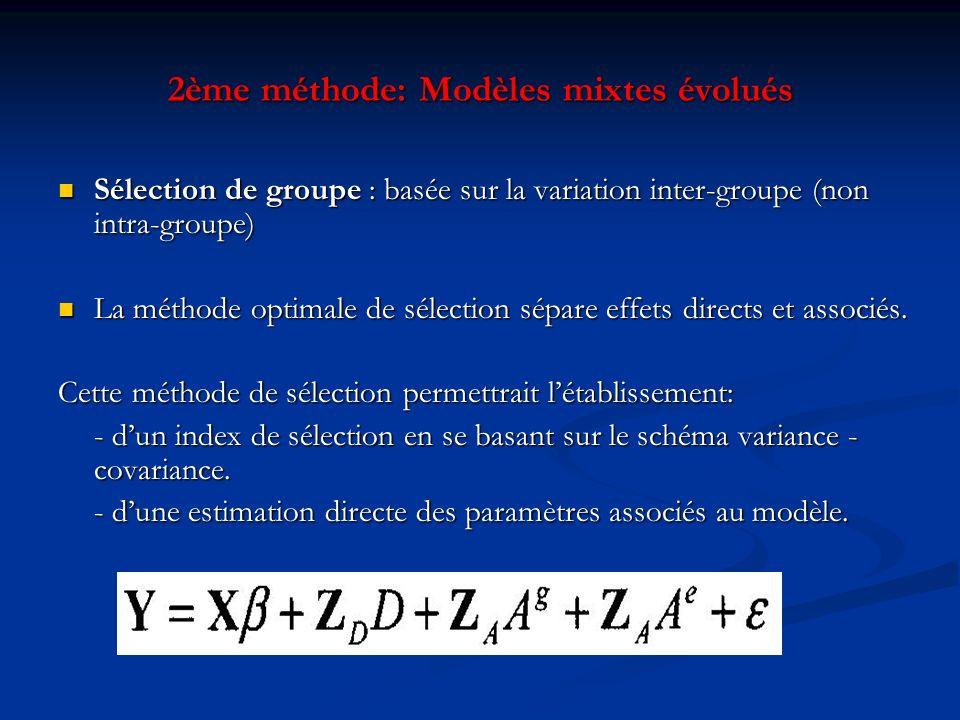 2ème méthode: Modèles mixtes évolués Sélection de groupe : basée sur la variation inter-groupe (non intra-groupe) Sélection de groupe : basée sur la v