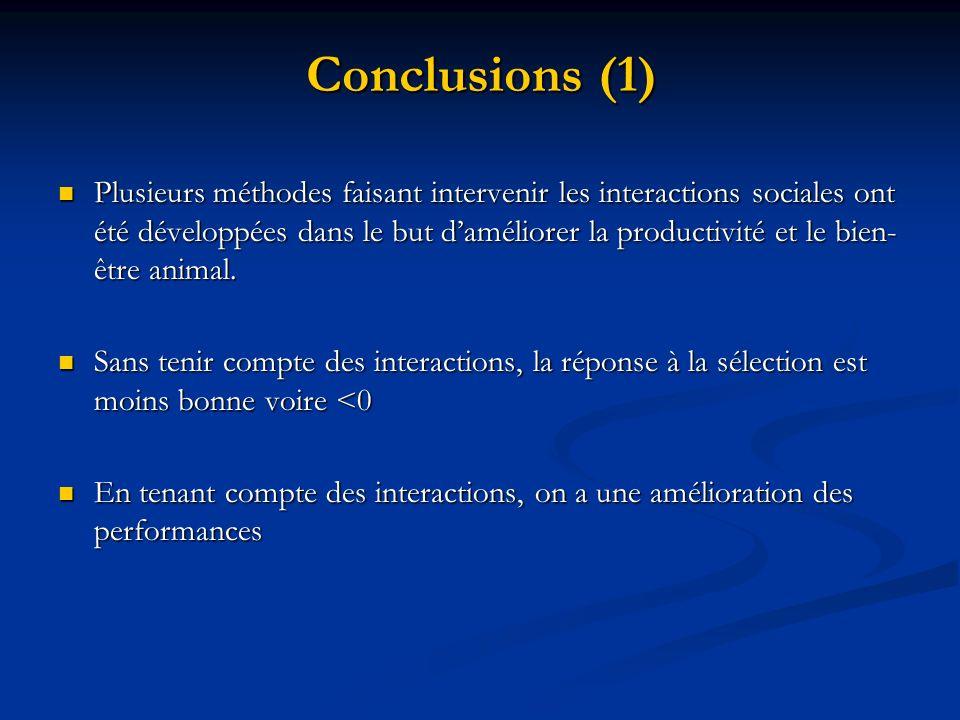 Conclusions (1) Plusieurs méthodes faisant intervenir les interactions sociales ont été développées dans le but daméliorer la productivité et le bien-