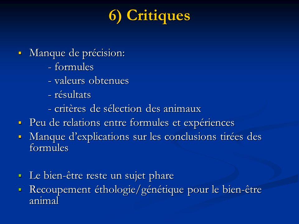 6) Critiques Manque de précision: Manque de précision: - formules - valeurs obtenues - résultats - critères de sélection des animaux Peu de relations
