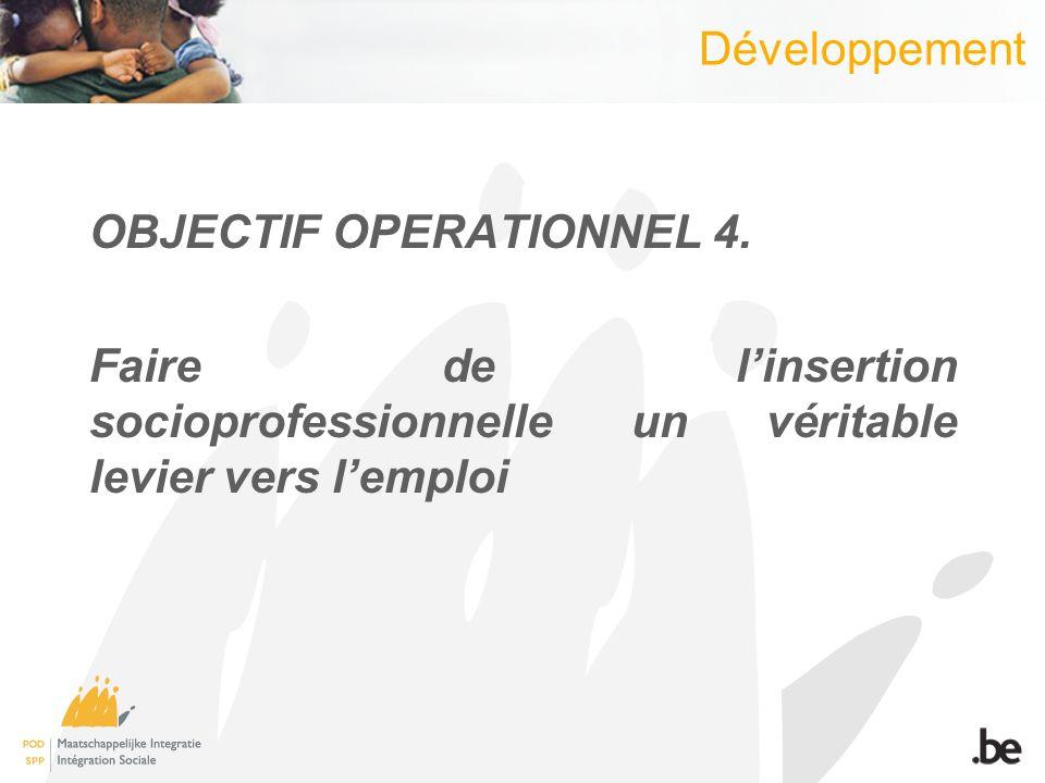 Développement OBJECTIF OPERATIONNEL 4.
