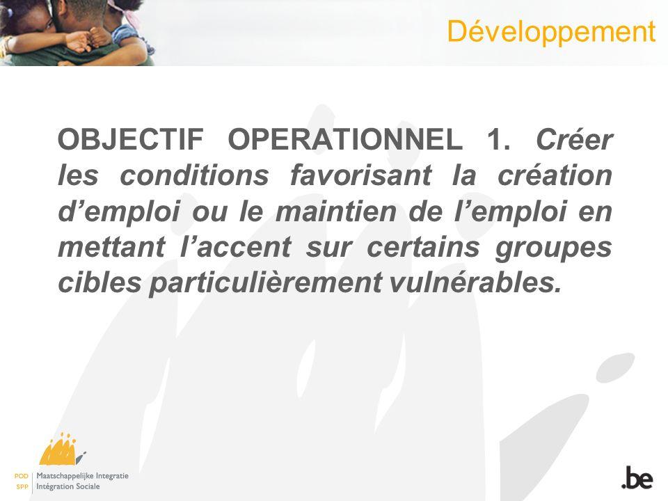 Développement OBJECTIF OPERATIONNEL 1.