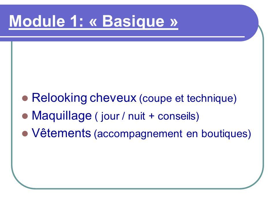 Module 1: « Basique » Relooking cheveux (coupe et technique) Maquillage ( jour / nuit + conseils) Vêtements (accompagnement en boutiques)