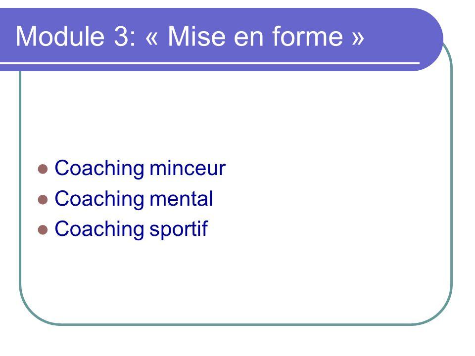 Module 3: « Mise en forme » Coaching minceur Coaching mental Coaching sportif