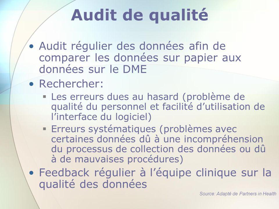 Audit de qualité Audit régulier des données afin de comparer les données sur papier aux données sur le DME Rechercher: Les erreurs dues au hasard (pro