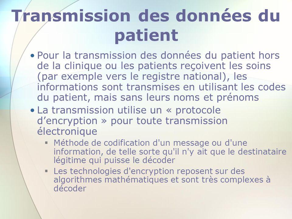 Transmission des données du patient Pour la transmission des données du patient hors de la clinique ou les patients reçoivent les soins (par exemple v