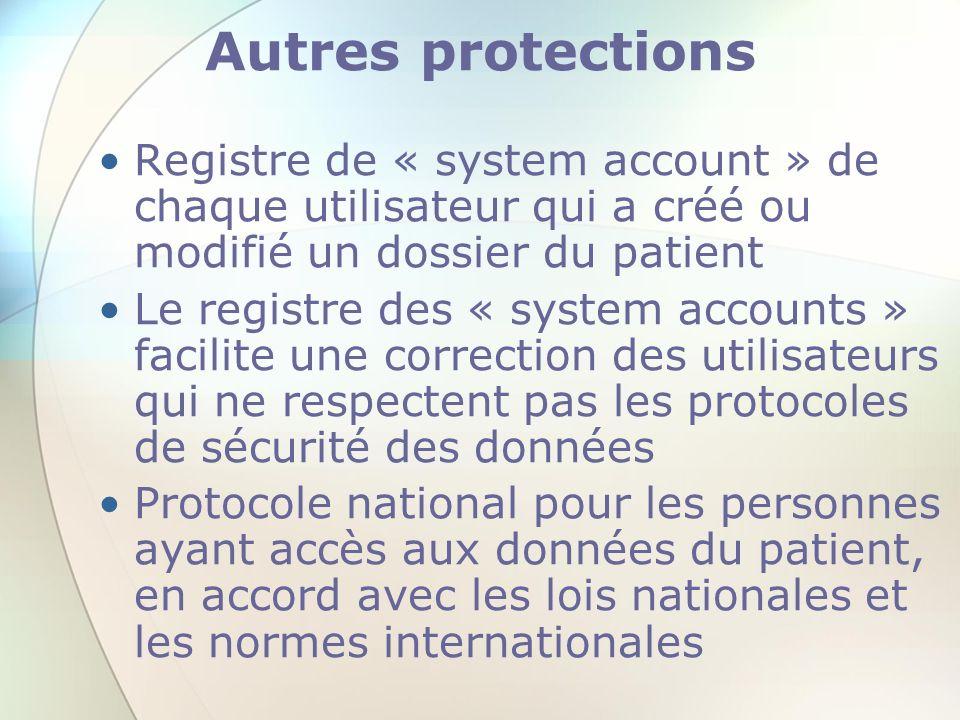 Autres protections Registre de « system account » de chaque utilisateur qui a créé ou modifié un dossier du patient Le registre des « system accounts