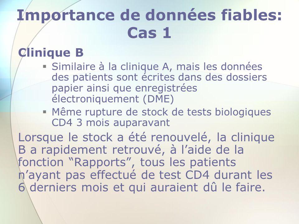 Importance de données fiables: Cas 1 Clinique B Similaire à la clinique A, mais les données des patients sont écrites dans des dossiers papier ainsi q