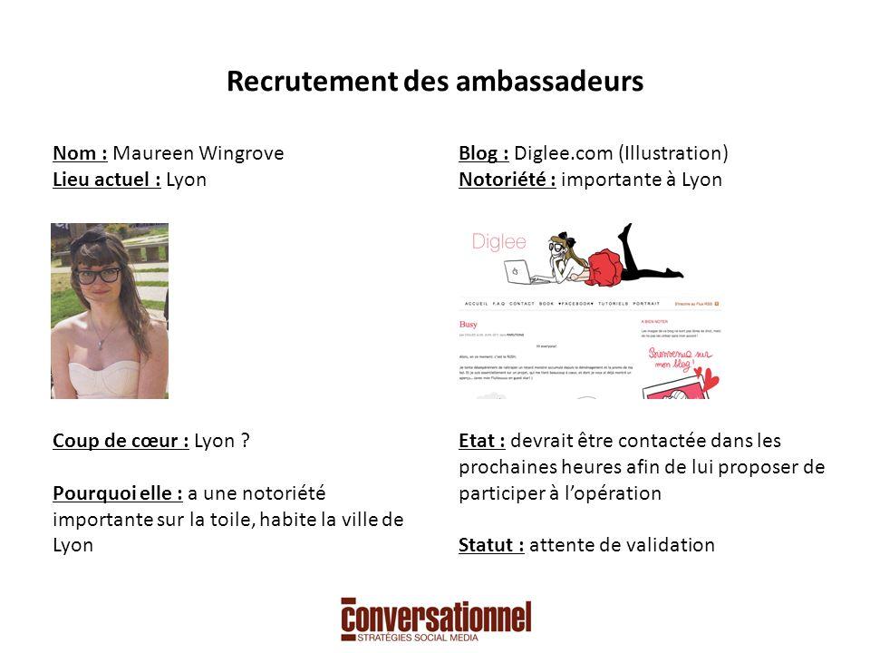Recrutement des ambassadeurs Nom : Maureen Wingrove Lieu actuel : Lyon Coup de cœur : Lyon .