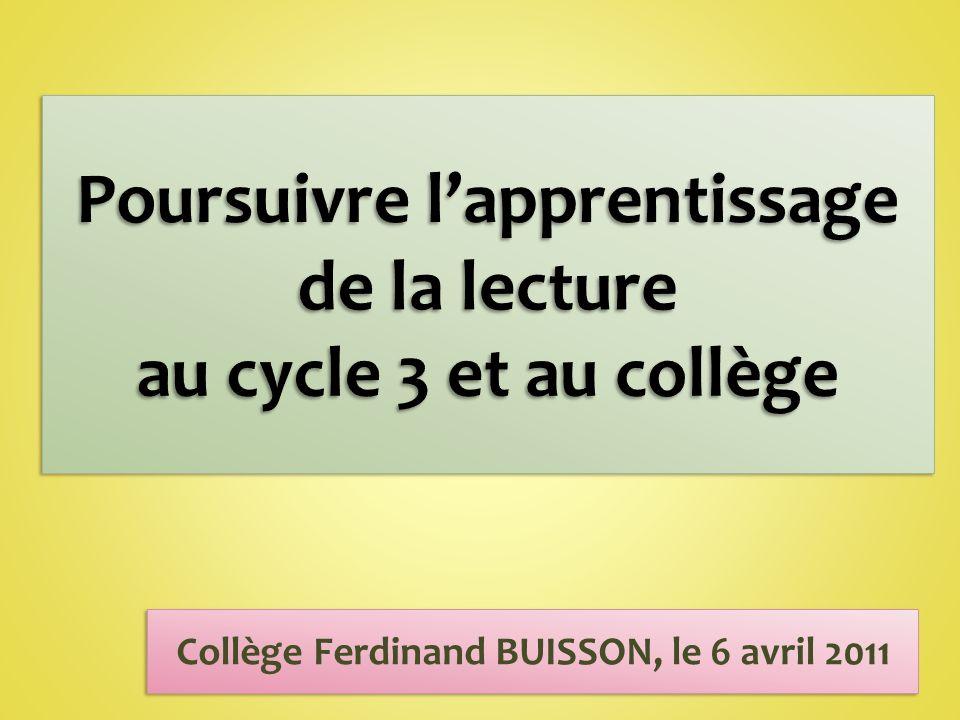 Collège Ferdinand BUISSON, le 6 avril 2011