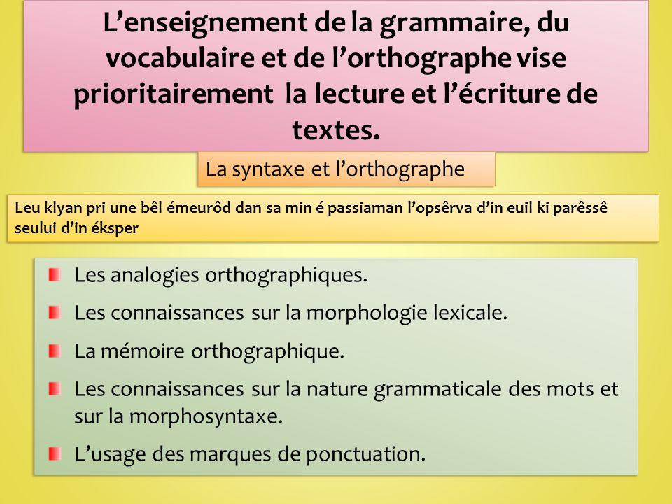 Lenseignement de la grammaire, du vocabulaire et de lorthographe vise prioritairement la lecture et lécriture de textes.