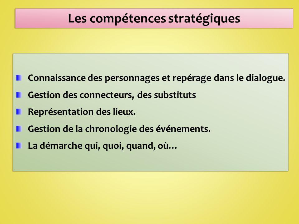 Les compétences stratégiques Connaissance des personnages et repérage dans le dialogue.