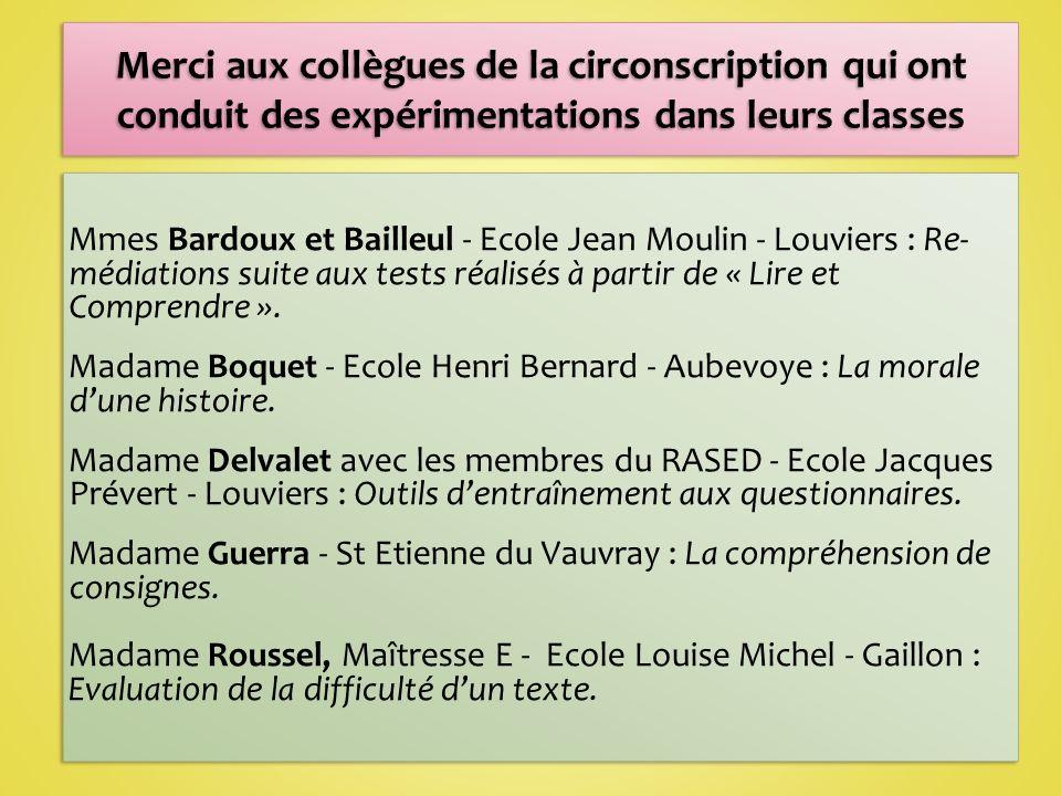 Mmes Bardoux et Bailleul - Ecole Jean Moulin - Louviers : Re- médiations suite aux tests réalisés à partir de « Lire et Comprendre ».