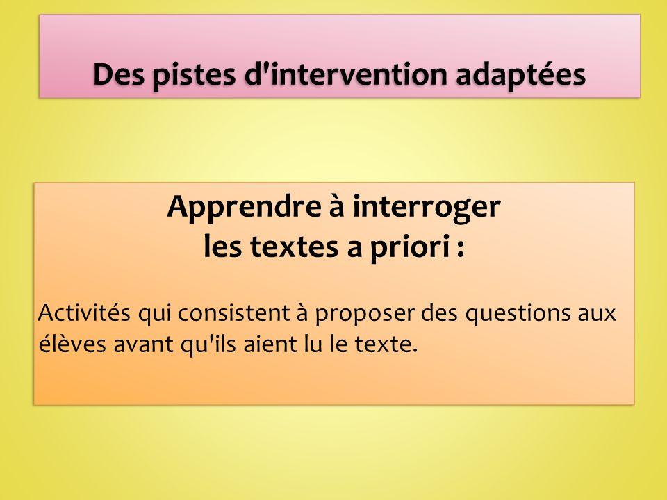 Apprendre à interroger les textes a priori : Activités qui consistent à proposer des questions aux élèves avant qu ils aient lu le texte.