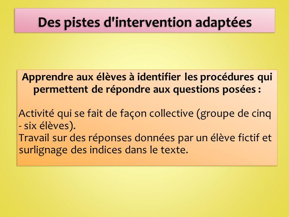 Apprendre aux élèves à identifier les procédures qui permettent de répondre aux questions posées : Activité qui se fait de façon collective (groupe de cinq - six élèves).