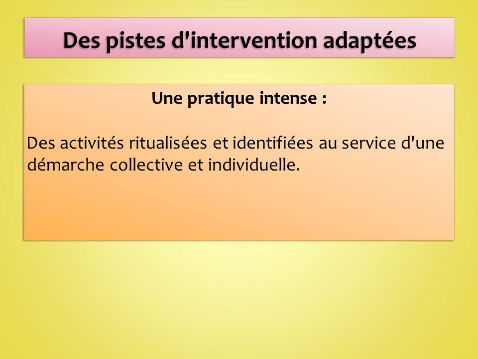 Une pratique intense : Des activités ritualisées et identifiées au service d une démarche collective et individuelle.