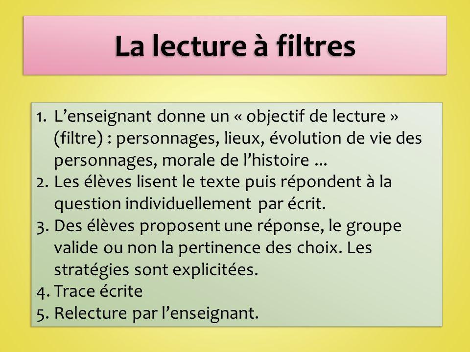 1.Lenseignant donne un « objectif de lecture » (filtre) : personnages, lieux, évolution de vie des personnages, morale de lhistoire...
