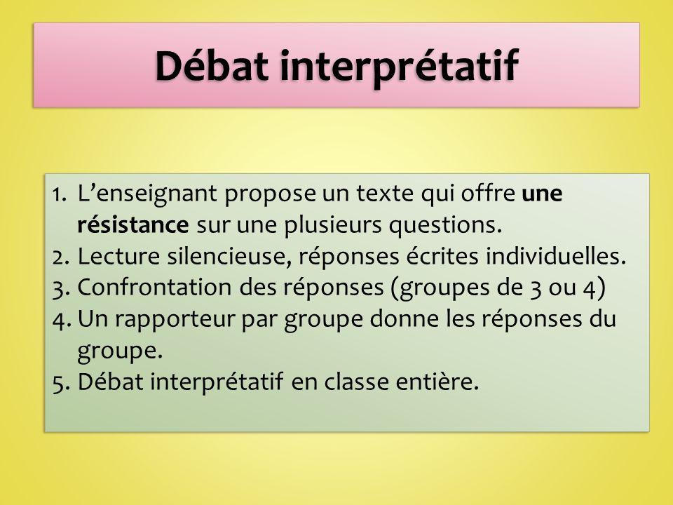 1.Lenseignant propose un texte qui offre une résistance sur une plusieurs questions.