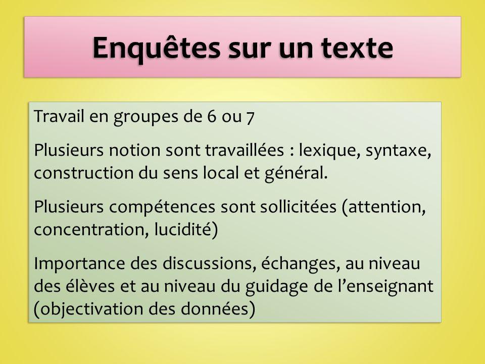 Travail en groupes de 6 ou 7 Plusieurs notion sont travaillées : lexique, syntaxe, construction du sens local et général.