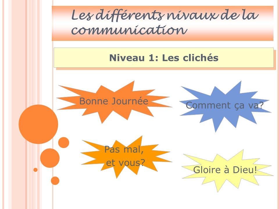 Les différents niveaux de la communication Rapporter les faits concernant autrui.