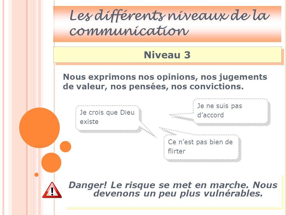 Les différents niveaux de la communication Niveau 4 Niveau des sentiments, de notre ressenti.