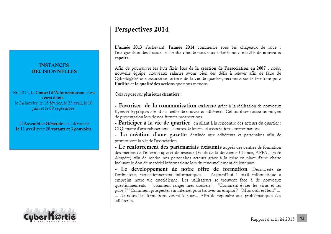 Rapport dactivité 2013 12 INSTANCES DÉCISIONNELLES En 2013, le Conseil dAdministration sest réuni 6 fois : le 24 janvier, le 18 février, le 25 avril,