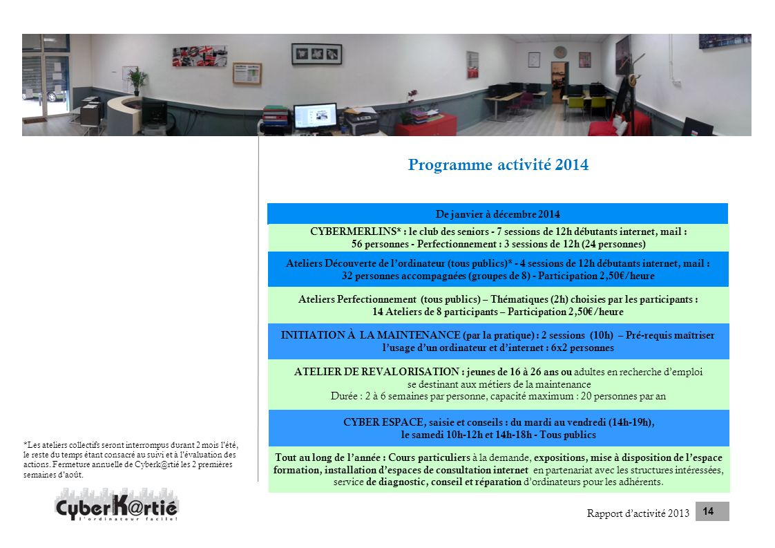 Programme activité 2014 De janvier à décembre 2014 Rapport dactivité 2013 14 CYBERMERLINS* : le club des seniors - 7 sessions de 12h débutants interne