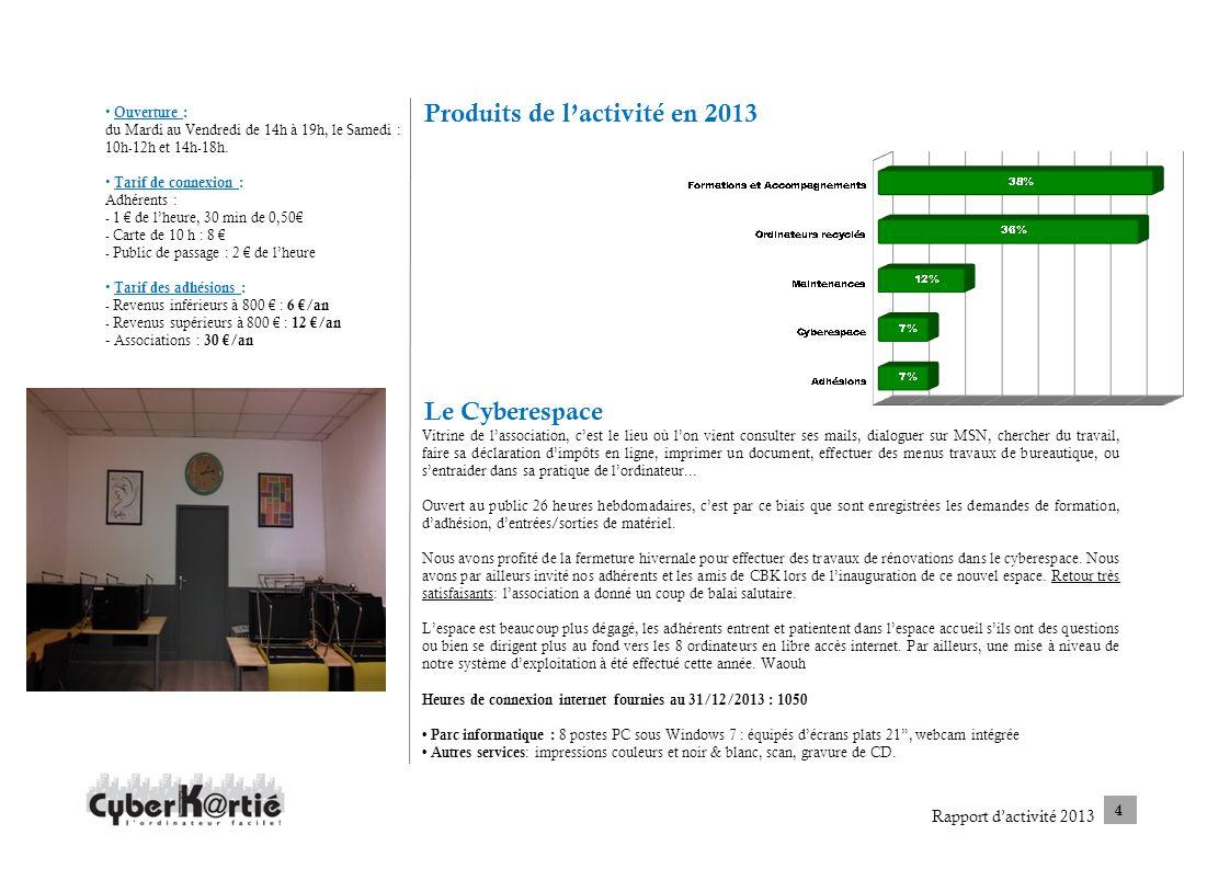 Produits de lactivité en 2013 Le Cyberespace Ouverture : du Mardi au Vendredi de 14h à 19h, le Samedi : 10h-12h et 14h-18h. Tarif de connexion : Adhér