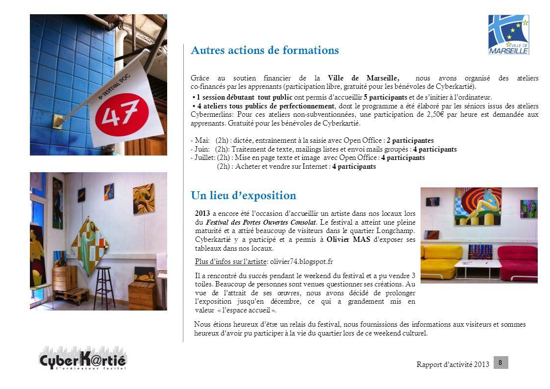 Autres actions de formations Grâce au soutien financier de la Ville de Marseille, nous avons organisé des ateliers co-financés par les apprenants (par