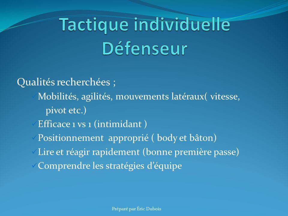 Qualités recherchées ; Mobilités, agilités, mouvements latéraux( vitesse, pivot etc.) Efficace 1 vs 1 (intimidant ) Positionnement approprié ( body et
