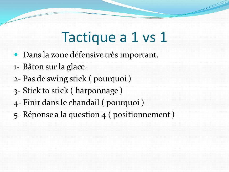 Tactique a 1 vs 1 Dans la zone défensive très important. 1- Bâton sur la glace. 2- Pas de swing stick ( pourquoi ) 3- Stick to stick ( harponnage ) 4-