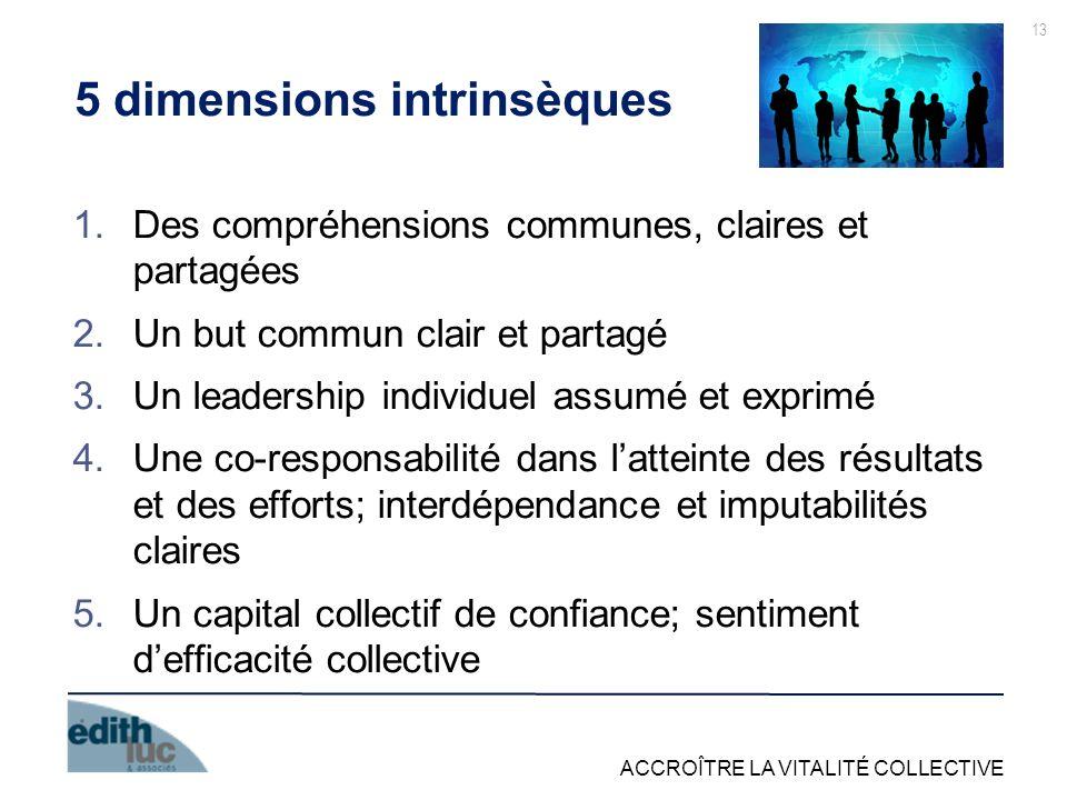 ACCROÎTRE LA VITALITÉ COLLECTIVE 13 5 dimensions intrinsèques 1.Des compréhensions communes, claires et partagées 2.Un but commun clair et partagé 3.U