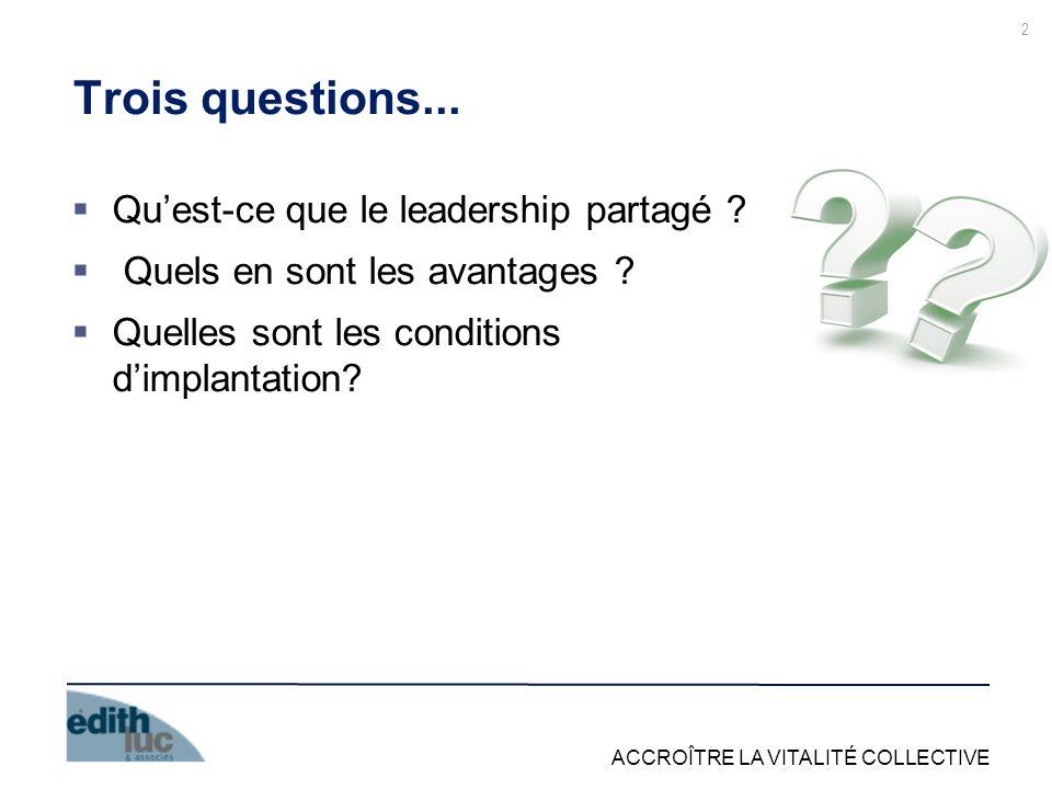 ACCROÎTRE LA VITALITÉ COLLECTIVE 2 Trois questions... Quest-ce que le leadership partagé ? Quels en sont les avantages ? Quelles sont les conditions d