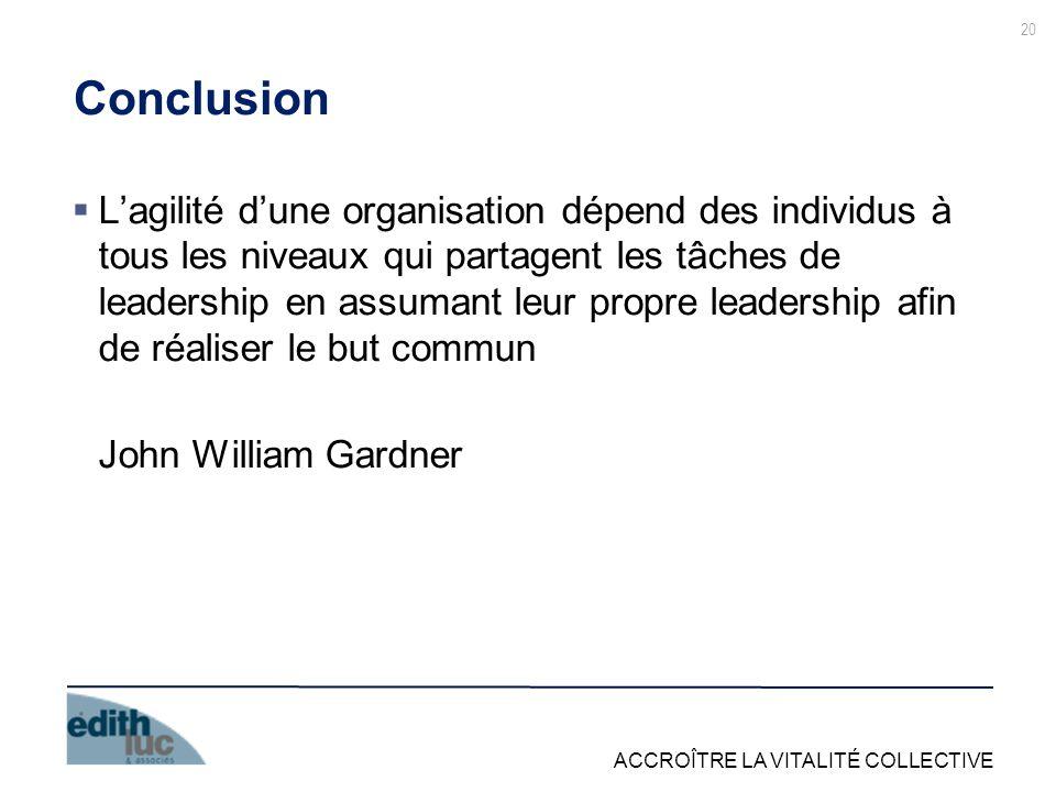 ACCROÎTRE LA VITALITÉ COLLECTIVE 20 Conclusion Lagilité dune organisation dépend des individus à tous les niveaux qui partagent les tâches de leadership en assumant leur propre leadership afin de réaliser le but commun John William Gardner