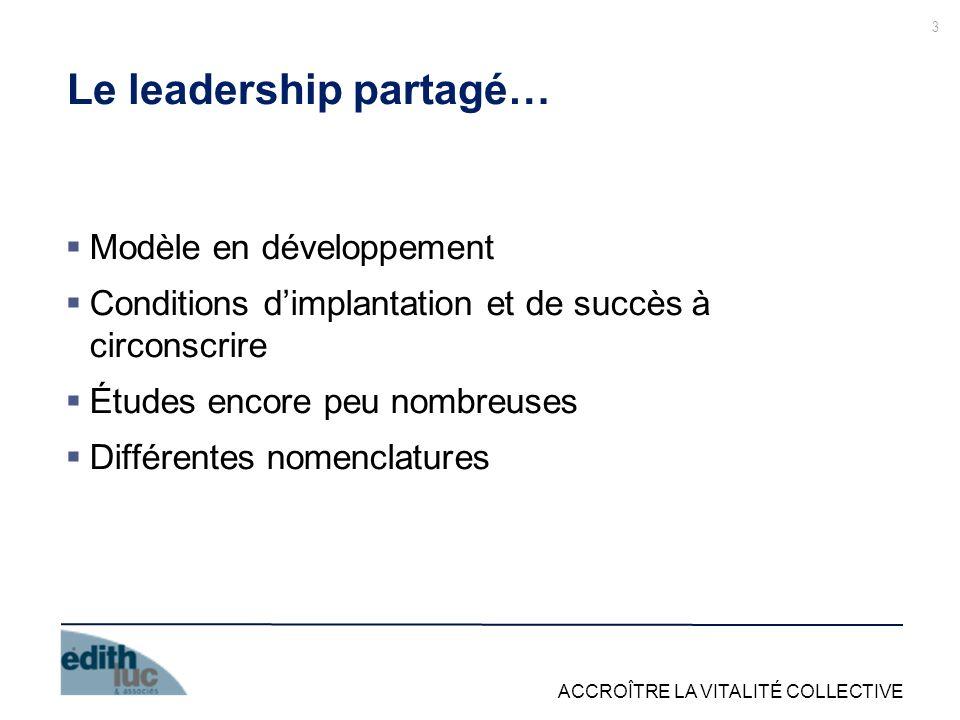 ACCROÎTRE LA VITALITÉ COLLECTIVE Le leadership partagé… Modèle en développement Conditions dimplantation et de succès à circonscrire Études encore peu nombreuses Différentes nomenclatures 3