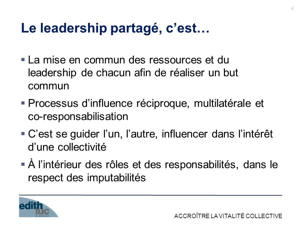 ACCROÎTRE LA VITALITÉ COLLECTIVE 4 Le leadership partagé, cest… La mise en commun des ressources et du leadership de chacun afin de réaliser un but co
