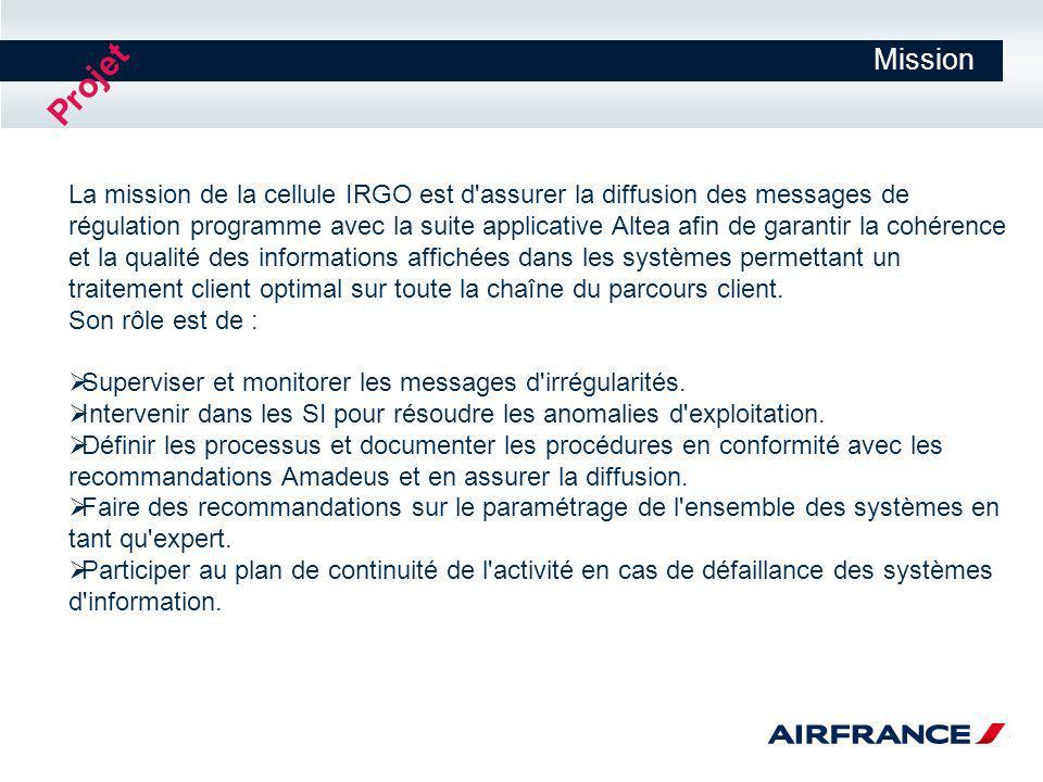 Mission La mission de la cellule IRGO est d'assurer la diffusion des messages de régulation programme avec la suite applicative Altea afin de garantir