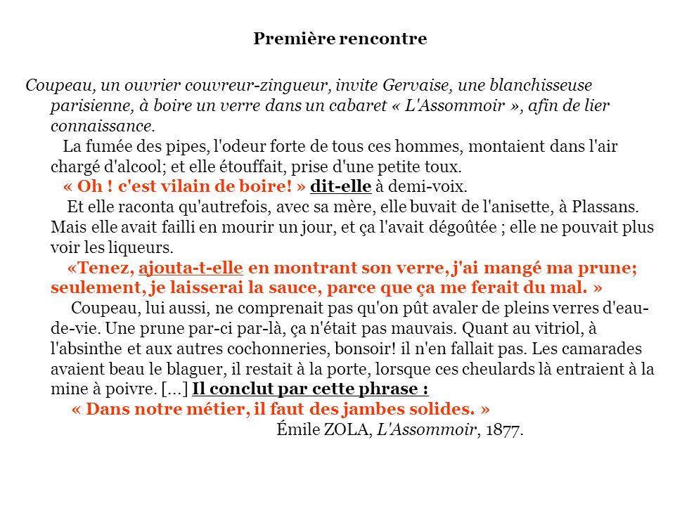 Première rencontre Coupeau, un ouvrier couvreur-zingueur, invite Gervaise, une blanchisseuse parisienne, à boire un verre dans un cabaret « L'Assommoi