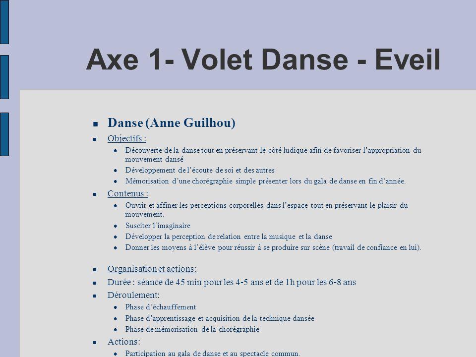 Axe 1- Volet Danse - Eveil Danse (Anne Guilhou) Objectifs : Découverte de la danse tout en préservant le côté ludique afin de favoriser lappropriation du mouvement dansé Développement de lécoute de soi et des autres Mémorisation dune chorégraphie simple présenter lors du gala de danse en fin dannée.
