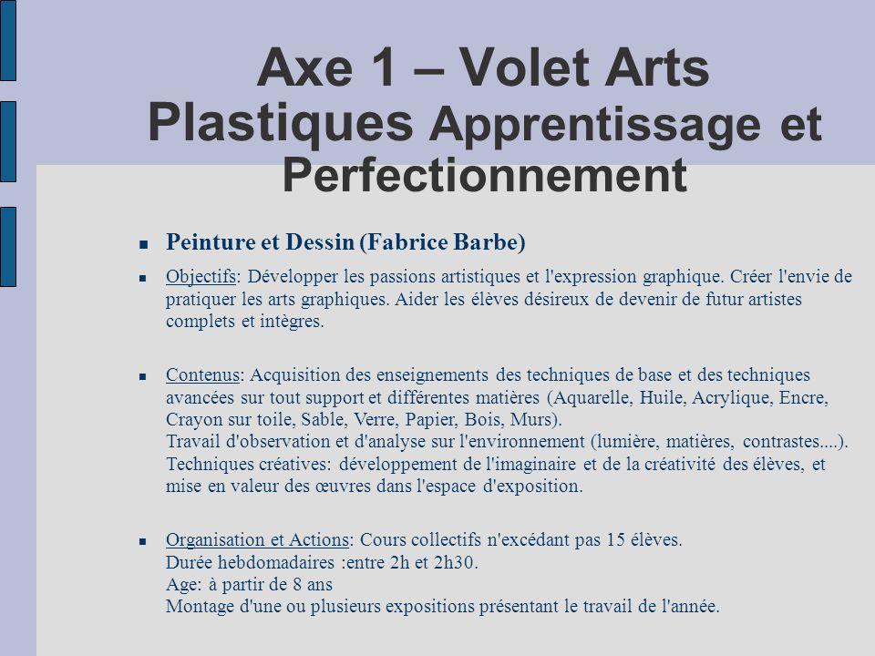 Axe 1 – Volet Arts Plastiques Apprentissage et Perfectionnement Peinture et Dessin (Fabrice Barbe) Objectifs: Développer les passions artistiques et l expression graphique.