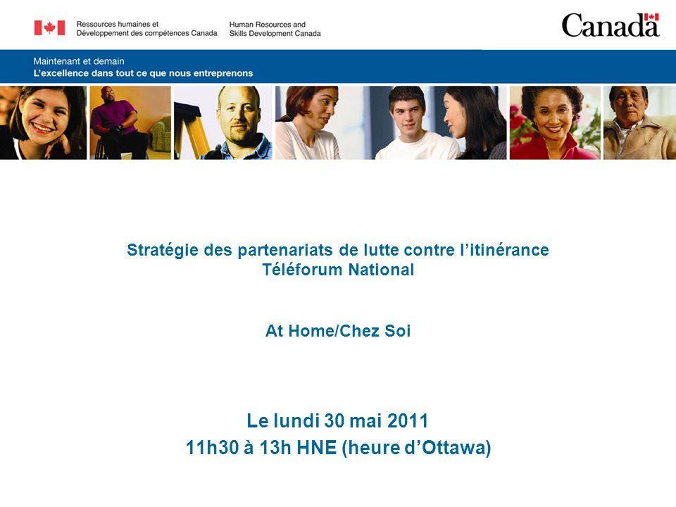 Stratégie des partenariats de lutte contre litinérance Téléforum National At Home/Chez Soi Le lundi 30 mai 2011 11h30 à 13h HNE (heure dOttawa)